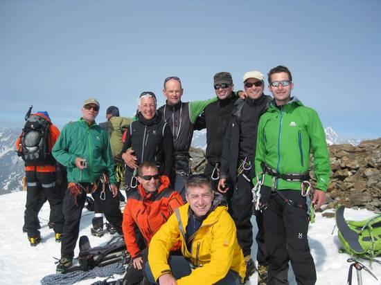 Die Hochtourengruppe am Mont Velan in den Walliser Alpen