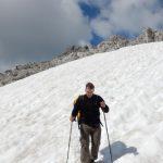 Schneefeld beim Abstieg zur Totalphütte