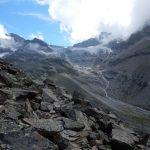 Blick zur Dreiländer-Spitze (3197 m) und zum Piz Buin (3312 m)